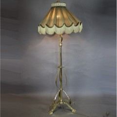 Victorian brass floor lamp with shade
