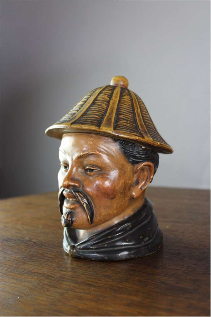 Austrian terracotta tobacco jar in the form of a Chinaman