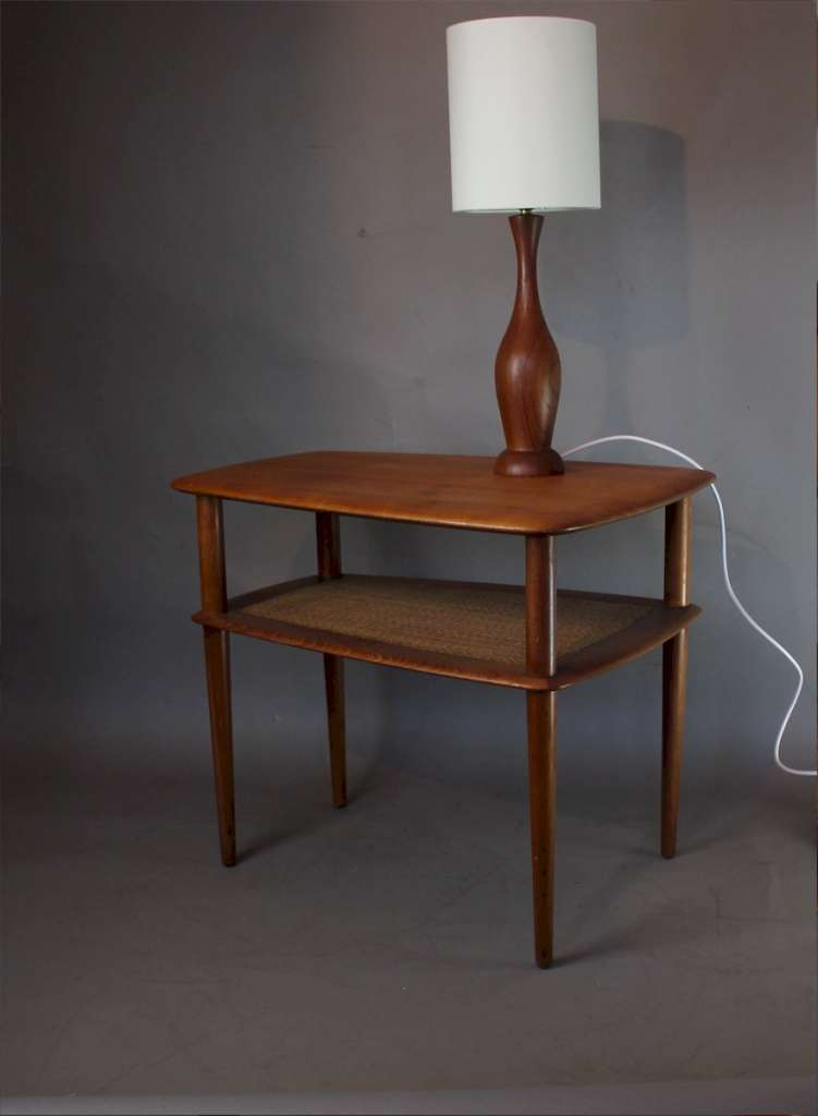Turned teak table lamp