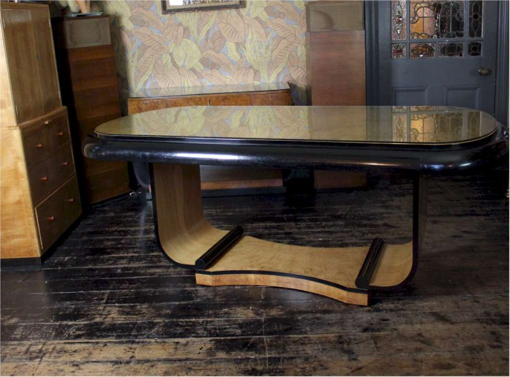 Art Deco U Based dining table in birds eye maple