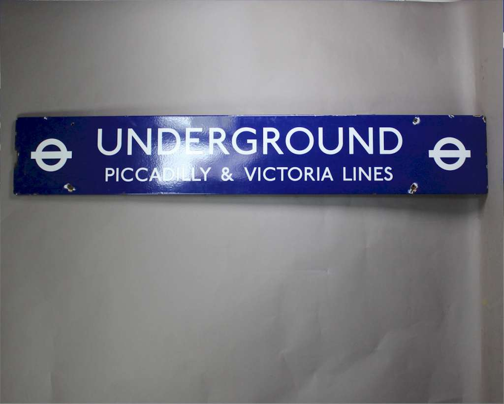 Original London Underground enamel sign for the Piccadilly Line