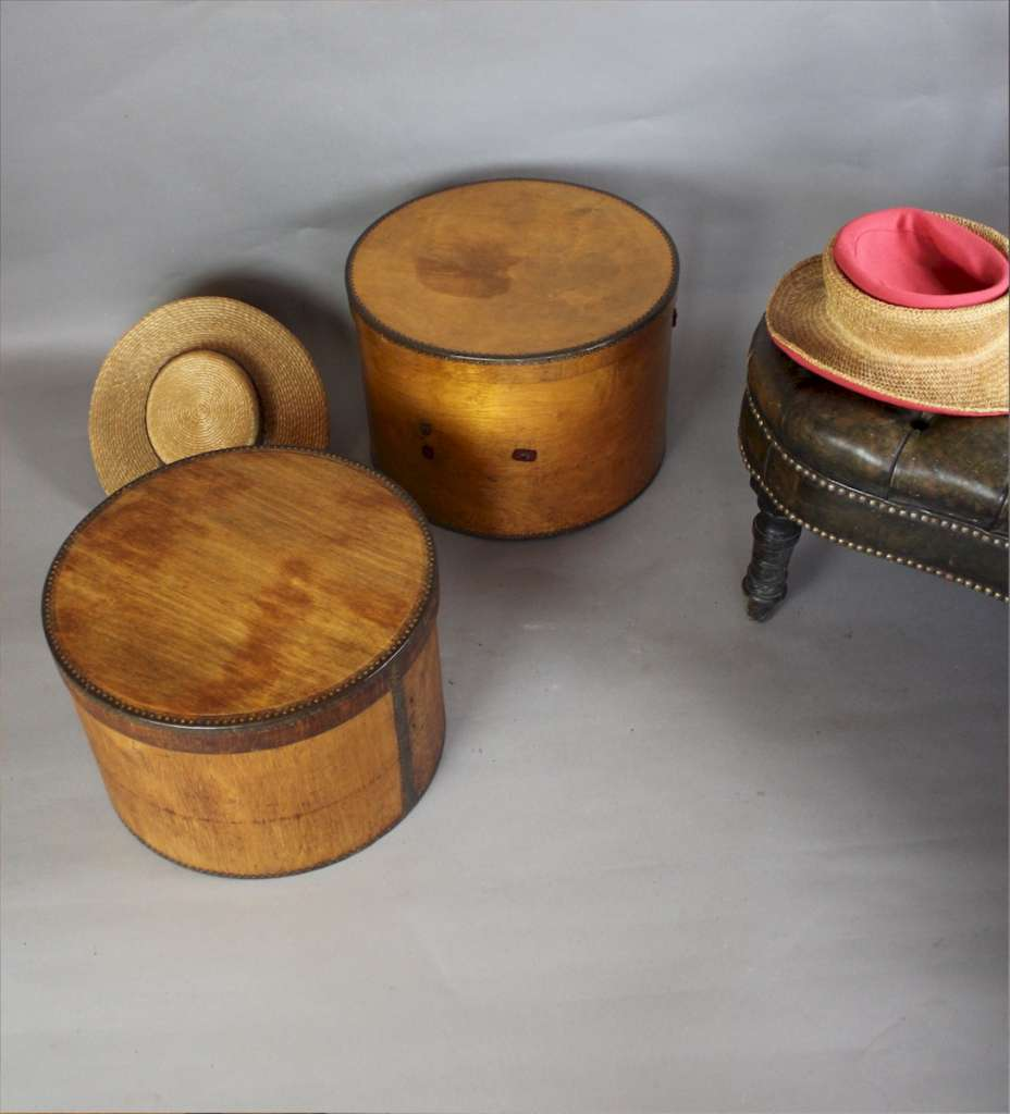 Two plywood hat boxes by Venesta