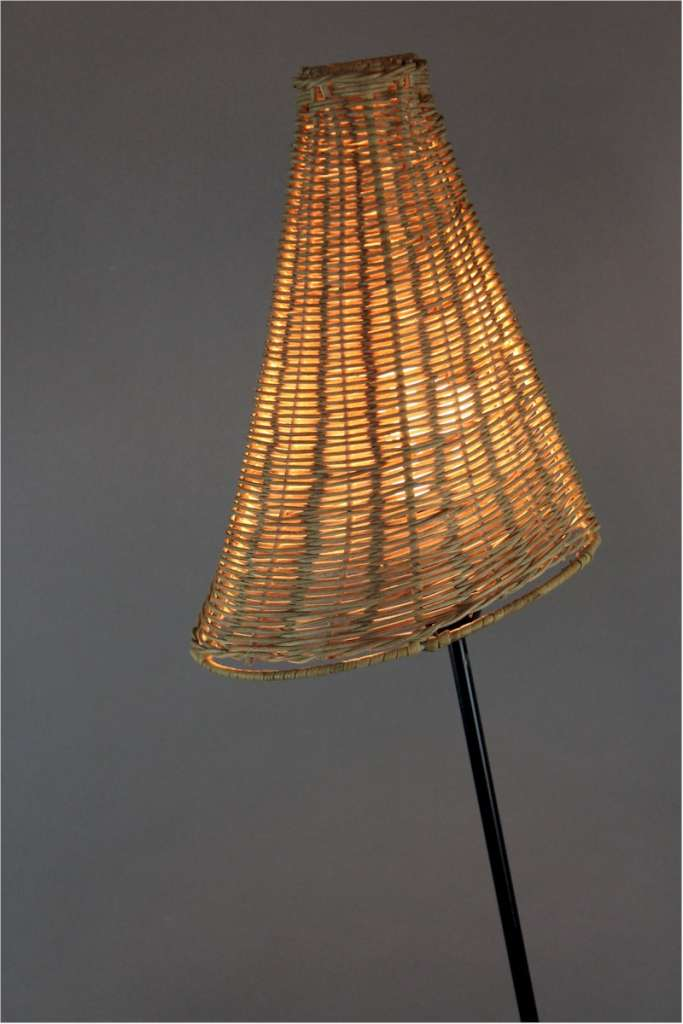 Mid Century floor lamp metal legs and wicker shade by Hans Bergstrous