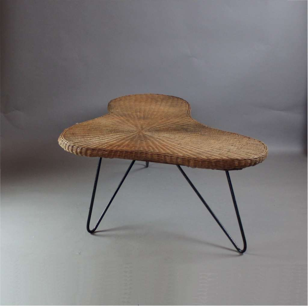 1950's wicker boomerang table