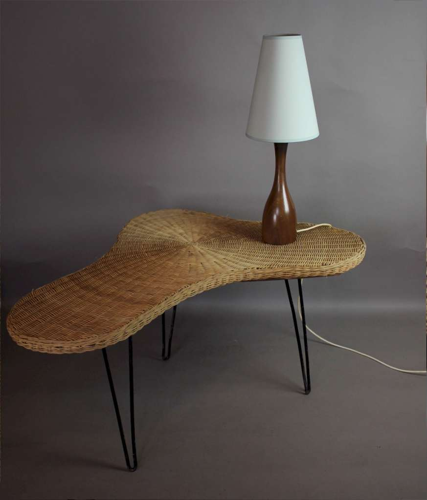 1950's wicker boomerang table possibly by Conran