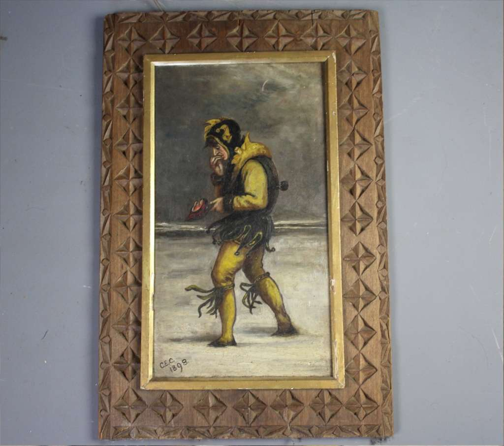 Late Victorian painting of a wondering jester
