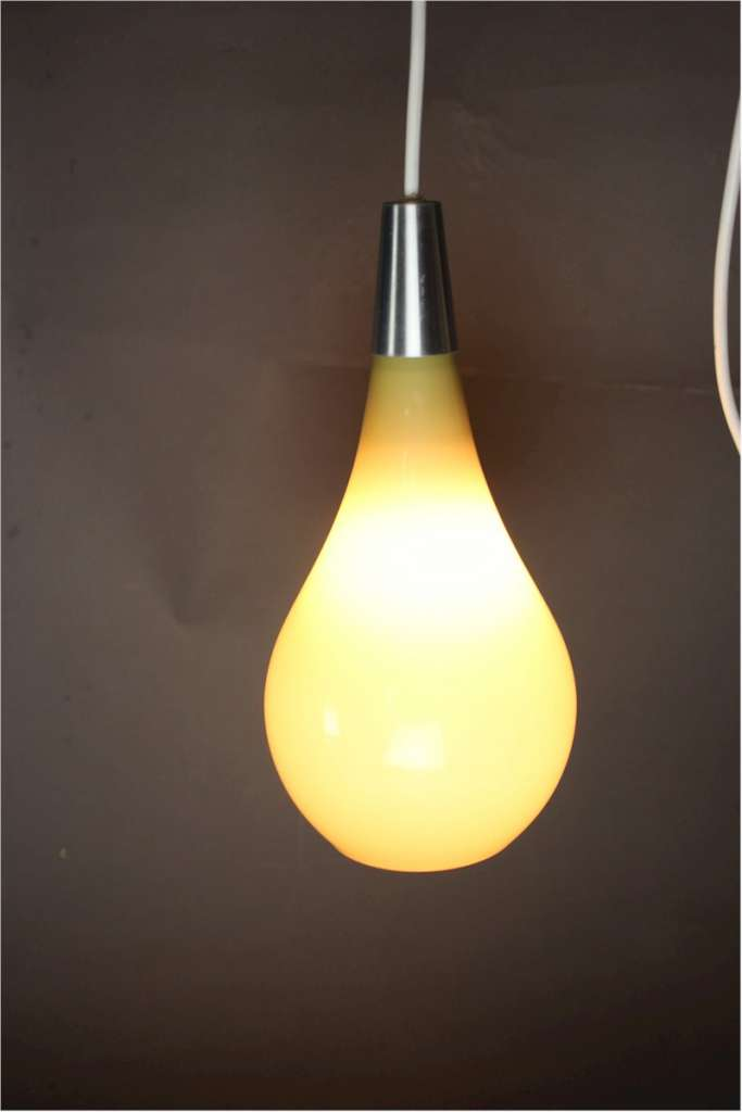 1950's yellow conical glass pendant lamp
