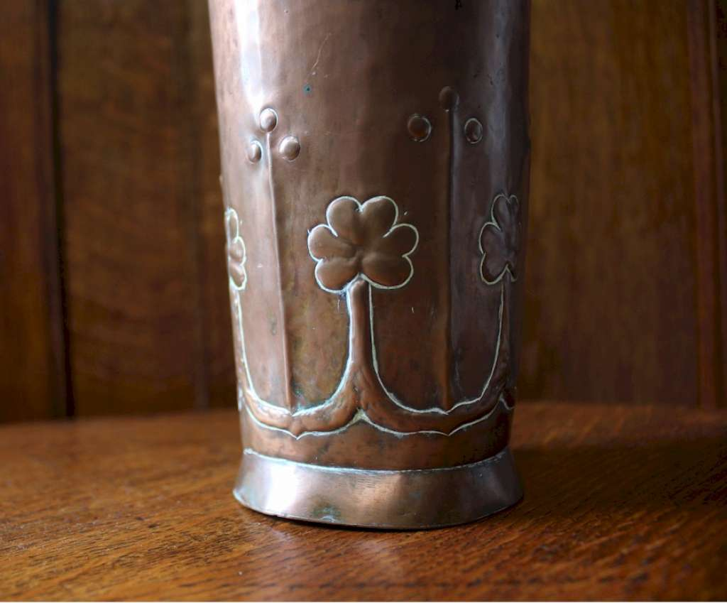 Irish arts and crafts movement Youghal A.M.W copper vase